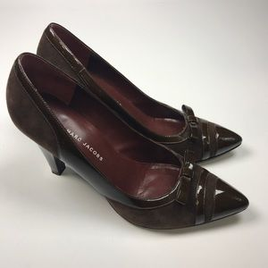 MARC BY MARC JACOBS Suede Patent Leather Bow Pumps